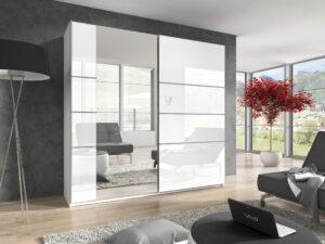 Šatní skříň se zrcadlem BETA BE57 200cm Bílý lesk