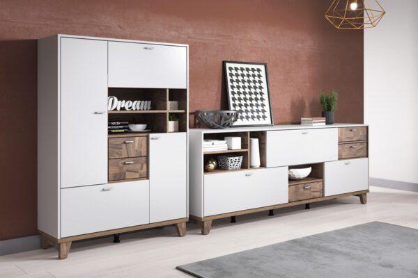 Systémový nábytek MOVE 1 Bílý supermatt / Palazzo