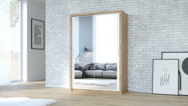 Skříň VISTA 200 Dub Artisan / Bílý + Zrcadlo