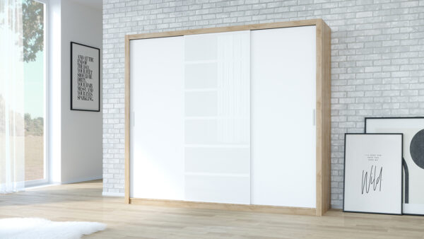 Skříň PANAMA 250 dub artisan / bílý +  bílé sklo