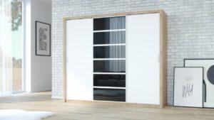 Skříň PANAMA 250 dub artisan / bílý + černá sklo