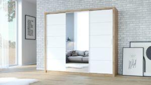 Skříň VISTA 250 Dub Artisan / Bílý + Zrcadlo