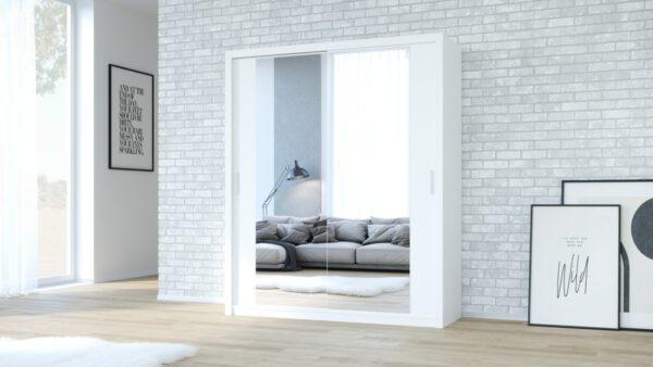 Skříň 180 VISTA Bílý + Zrcadlo
