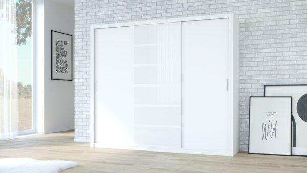 Skříň PANAMA 250 bílý + bílé sklo