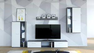 Stylová obývací stěna SALSA Bílý / Beton