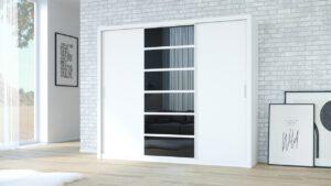 Skříň PANAMA 250 bílý + černá sklo