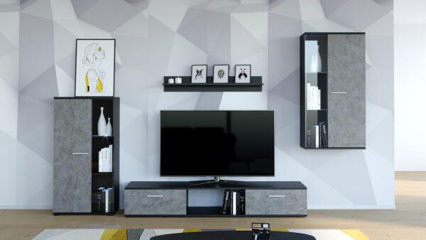 Stylová obývací stěna SALSA Beton / Černý