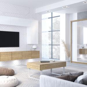 Obývací stěna CALABRIA 15 + VISTA 200 Dub Zlatý / Bílý + Zrcadlo