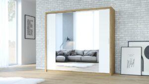 Skříň VISTA 220 Dub Zlatý + Bílý / Zrcadlo