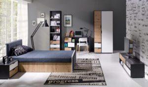 Nábytek pro mládež IWA 6  Grafit / Bílý + Dub artisan