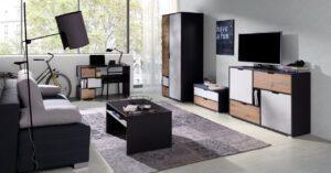 Systémový nábytek IWA 11 Grafit / Bílý + Dub artisan
