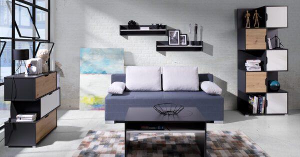 Systémový nábytek IWA 13 Grafit / Bílý + Dub artisan