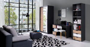 Systémový nábytek IWA 8 Grafit / Bílý + Dub artisan