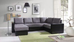 Rohová sedací souprava do tvaru U GORDIA MAXI šedý