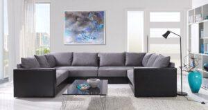 Rohová sedací souprava do tvaru U GORDIA PLUS šedý