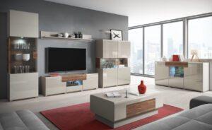 Moderní obývací stěna TOLEDO 1 Bílý / Bílý lesk + Dub san remo