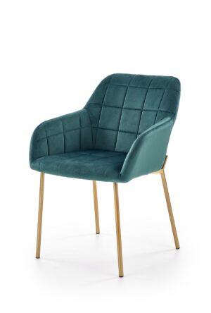 Čalouněné jídelní židle K306 tmavě zelený / zlatý