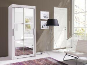 Moderní šatní skříň KARO 100 Bílý / Bílý + Zrcadla