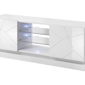 TV stolek QIU 160 bílý lesk