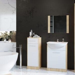 Koupelna SLIM MINI dub artisan / bílý