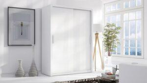 Luxusní šatní skříň s posuvnými dveřmi LONDON 150 bílý mat