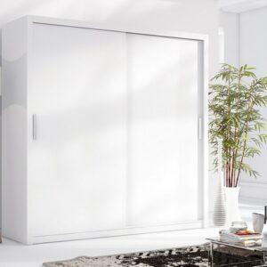 Luxusní šatní skříň s posuvnými dveřmi LONDON 200 bílý mat
