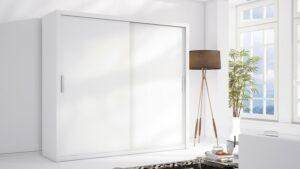 Luxusní šatní skříň s posuvnými dveřmi LONDON 220 bílý mat