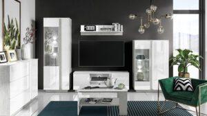 Systémový nábytek LORA 1 Stříbrný beton + Bílý lesk