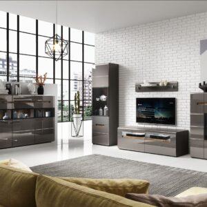 Moderní obývací stěna HEKTOR 3 antracit lesk