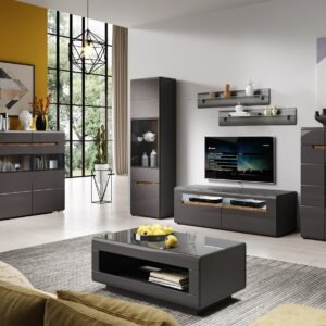 Moderní obývací stěna HEKTOR 4 antracit lesk