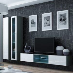 Obývací stěna VIGO GREY 17B šedá / bílý lesk