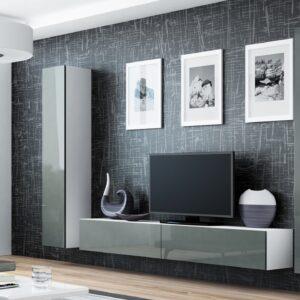 Obývací stěna VIGO GREY 4A bílý / šedá lesk