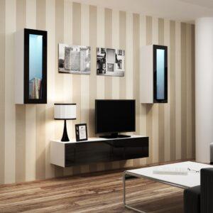 Obývací stěna VIGO 8B bílý / černý lesk