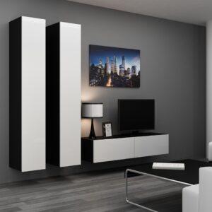 Obývací stěna VIGO 9C černý / bílý lesk