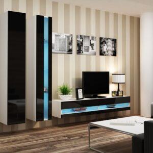 Obývací stěna VIGO NEW 5B bílý / černý lesk