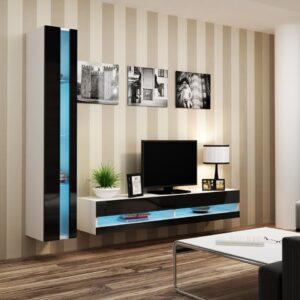 Obývací stěna VIGO NEW 8B bílý / černý lesk