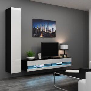 Obývací stěna VIGO NEW 9C černý / bílý lesk