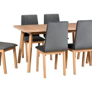 Stůl OSLO 5 + Židle HUGO 5 (6ks.) DX40
