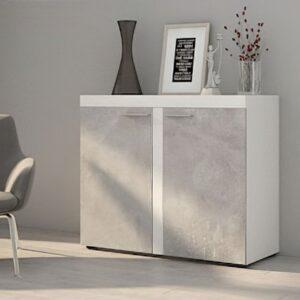 Komoda RUMBA / RODOS 2D Světlý beton / Bílý
