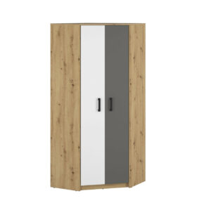 Rohová skříň FIJI FJ13 82 dub artisan / bílý / antracit