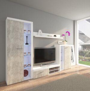 Obývací stěny RUMBA / RODOS  Světlý beton / Bílý