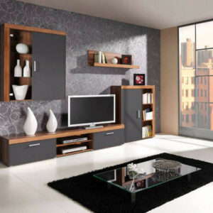 Trendy obývací stěna SAMBA sestava 1 Švestka / Grafit