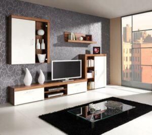 Moderní obývací stěna SAMBA sestava 1  švestka / krémový