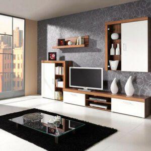 Moderní nábytek do obýváku SAMBA sestava 8 švestka / krémový