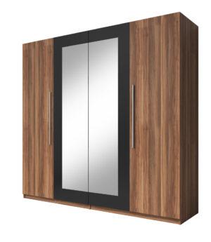 Skříň se zrcadlem VERA VE20 červený ořech / černý