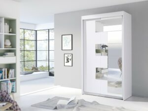 Śatní skříň ZACH 120 bílý + zrcadlo