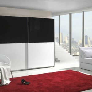 Moderní šatní skříň s posuvnými dveřmi LUX 6 lesk