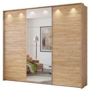 Šatní skříň se zrcadlem CENTURY 277 dub camargue