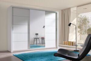 Luxusní šatní skříň s posuvnými dveřmi VISTA 250 bílý mat