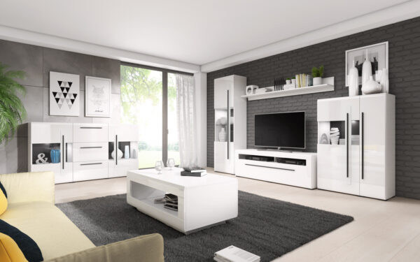 Systémový nábytek TULSA 1 Bílý laminát / Bílý lesk